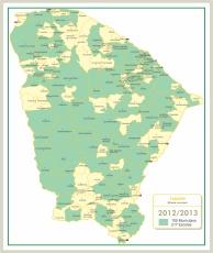 Mapa com os municípios contemplados pelo projeto